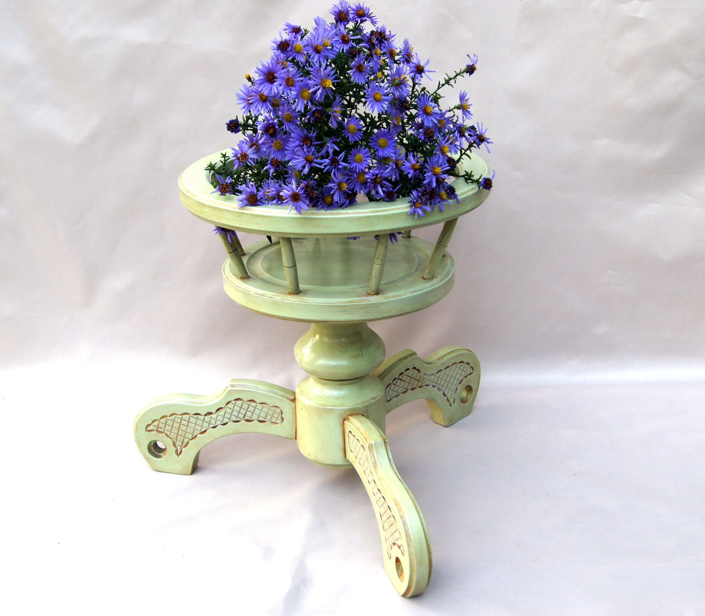 Light Green Wooden Plant Stand Wood Plant Holder Big Pot Plant