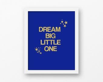 Dream big little one star sky nursery print, baby shower gift, nursery decor, gender neutralnursery
