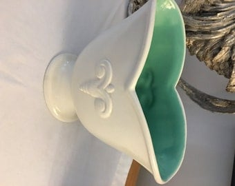 Red Wing Vase #888, white with seafoam green on interior, Vintage