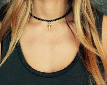Lava Ankh Choker Necklace