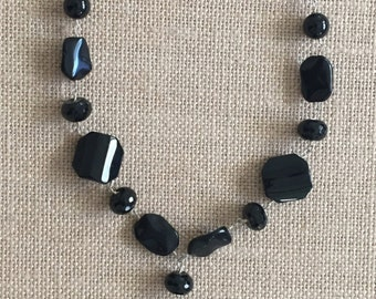 Black Onxy Steriling Silver Necklace and Earing