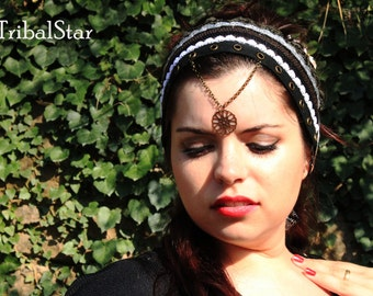 Headband with chains copper Steampunk.