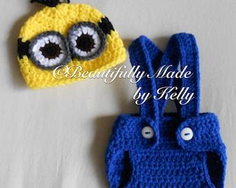 Crocheted Minion Newborn Diaper Cover Set