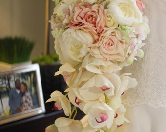 Grace -  Silk Pink and Cream Cascading Rose and Orchid Bouquet