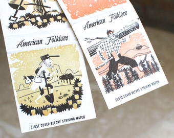 American folklore matchbook covers - Paul Bunyan Johnny Appleseed matches  - matchbook cover - advertising collectible - paper ephemera