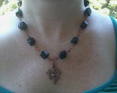 Fleur de lis and black tourmaline necklace(#2)