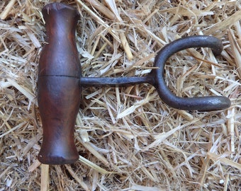 Antique/vintage double hay bale hook, cotton farm bale, ooden handle, old farm tool
