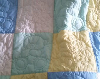 Quilted Baby Quilt with Teddy Bears