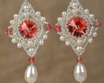 Bridal Wedding Jewelry Earrings Long and Dangle Pearl Earrings Swarovski Red Crystal  Exclusiv Silver Jewelry Earrings