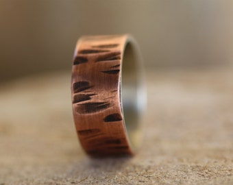 Sterling Silver and Copper wide ring / Rustic wide band / Mens wedding ring /Two metal ring / Personalised wide ring / Hammered ring
