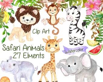 "Watercolor Safari clipart: ""SAFARI ANIMALS CLIPART"" Lion giraffe Jungle clipart Kids clipart baby shower clipart tropic fruit clipart"