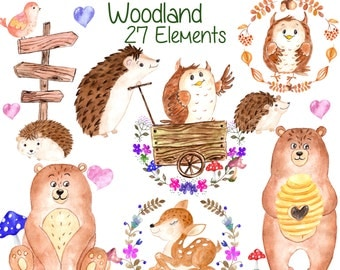 "Watercolor woodland animals clipart: ""FOREST ANIMALS"" animals clip art deer bear owl hedgehog kids clipart baby shower clipart invitation"