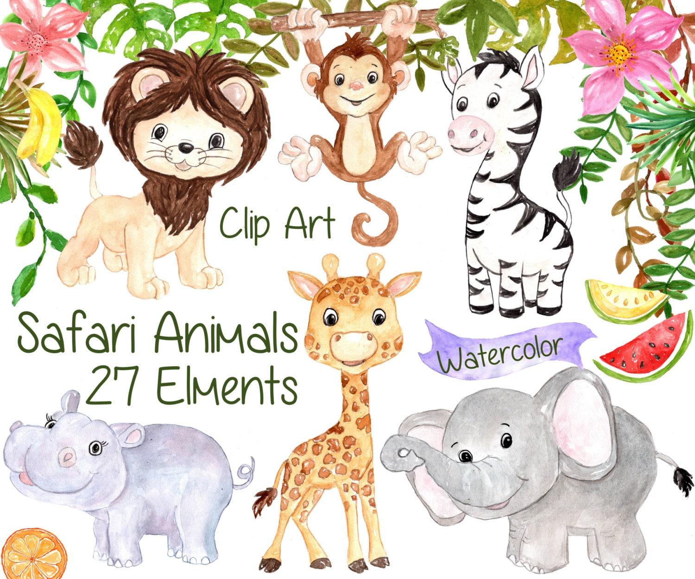Watercolor Safari clipart: SAFARI ANIMALS CLIPART