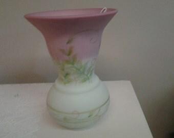 Fenton Burmese Vase Pink Yellow Green