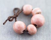 Pale pink porcelain bead set-Ronnie's beads
