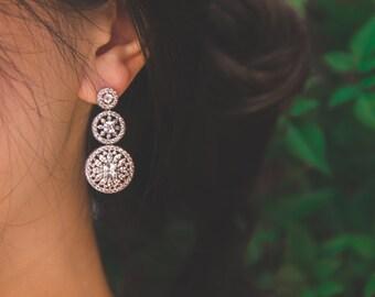 Swarovski Crystal Bridal Earrings, Luxury Wedding Earrings, AAA CZ Earrings, Chandelier Earrings, Jewelry, Anniversary Gift