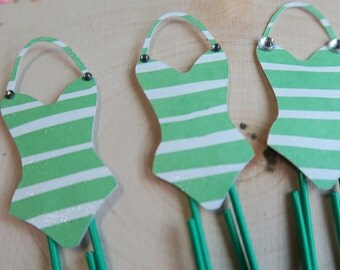 Swimsuit Planner Clip //  Green & White striped