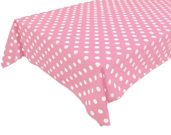Cotton Table Cloth Polka Dots / Spots White on Pink