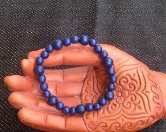 Blue Wood Bead Bracelet