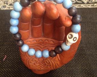 Blue Skull Stretch Bracelet