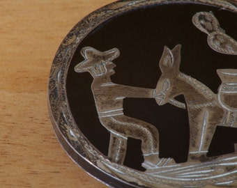 Vintage 1950's Mexican 925 Sterling Silver Circular Brooch with Farmer and Mule Figures
