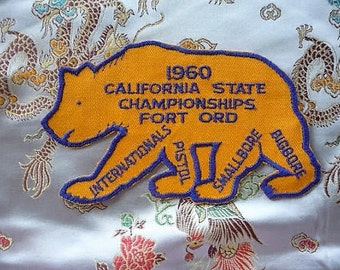 1960 - Vintage Fort Ord Pistol State Championships Souvenir Patch , California Bear