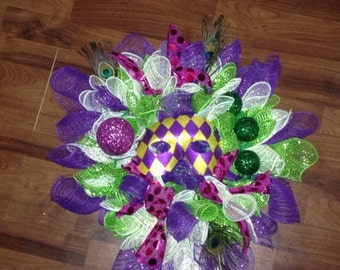Deco Mesh Mardi Gras Wreath