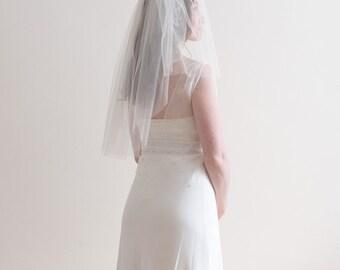 Ivory, elbow length, silk tulle wedding veil - 2 tiers