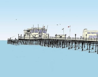 Fishing from the pier - Archival quality limited edition print