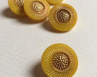 Lot of 6 vintage mustard yellow glass buttons / Self shanked 18 mm buttons / Czech glass buttons