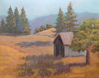 Barn at the End of the Day Original Landscape Pastel Painting