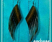 Raven Fringe Earrings: Recycled Bicycle Inner Tube Rubber Vegan Leather Cruelty Free Sustainable Jewelry