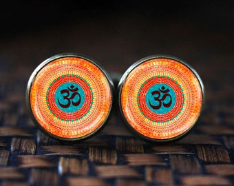 Om cufflinks, Yoga Meditation cufflinks, Spiritual Yoga Jewelry gift, Boho cuff links, Buddhist amulet cufflinks,