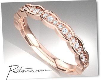 Rose Gold Wedding Band - Art Deco Ring - Stacking Ring - Eternity Ring - Wedding Ring - Promise Ring - Vintage Ring - diamond