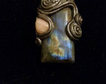 Luna - labradorite and moonstone pendant