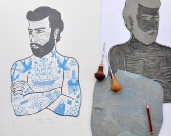 Tattoo Man - Original Artwork Lino Relief Print Limited Edition Blue & Grey Printmaking Australian Art Handmade Australia