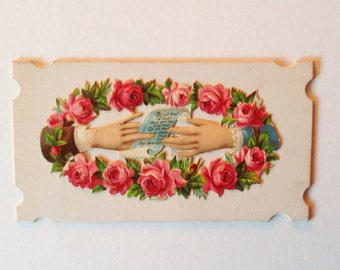 Victorian, Calling Card, Hands, Roses, Vintage Paper, Ephemera, Victoriana, Collage