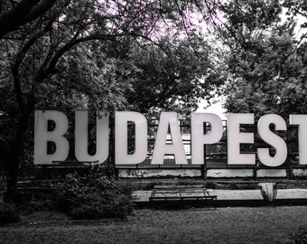 Black and white Budapest sign- Black and White Photography - Architecture - Travel