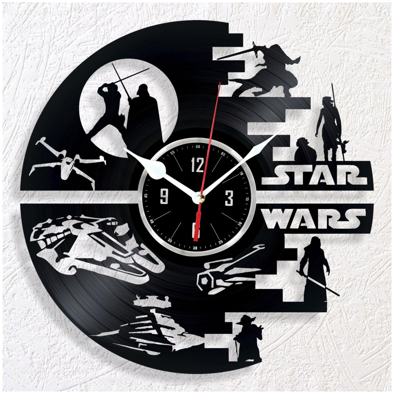vinyl wall clock star wars by woodenhmcraft on etsy. Black Bedroom Furniture Sets. Home Design Ideas