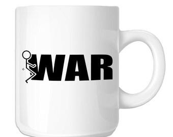 Funny Humping Stick Figure F*ck War (SP-00120) 11 OZ Novelty Coffee Mug