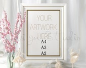 FRAME MOCKUP A4 A3 A2 Vertical Gold and White Frame, Poster Frame Mockup, Styled Photography Mockup,
