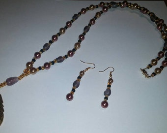 Glass Bead necklace with matching earring set