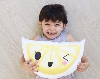 Lemon, Nursery Pillow, Lemon Pillow, KIds Gift, Boy Gift, Girl Gift, Citrus, Kids Room Decor, Kids Pillow, Citrus, Lemon Slice, Kids Decor
