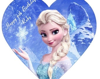 frozen Elsa heart shape  personalised Cake Topper Edible ising sugar 7.5""