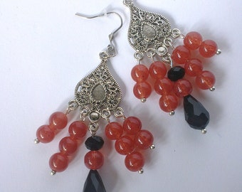 Chandelier Earrings, Long Earrings, Black and Red Earrings, Boho style