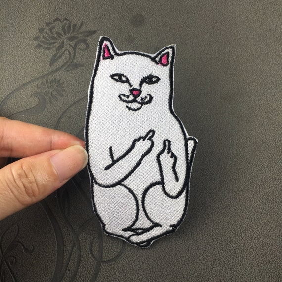 back patch iron on embroidered cat patch funny patch finger