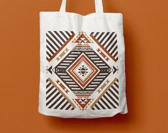 Totebag Navajo, coton bag, beach bag, pattern, brown