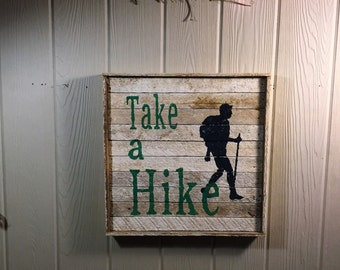 Rustic Hiking, wall decor, reclaimed wood.