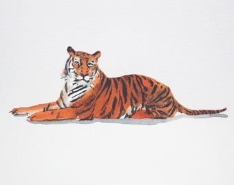 Watercolor Painting Original Not Print Tiger 08022016001sWTTGOB