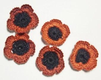 10 Brown Crocheted Flowers